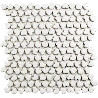 Valentine 0.7 x 0.8 Ceramic Mosaic Tile in White