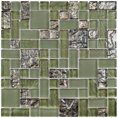Sierra Random Sized Glass Mosaic Tile in Green