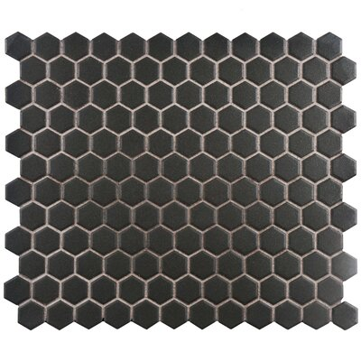 New York Hexagon 10.25 x 12 Porcelain Unglazed Mosaic Tile in Antique Black
