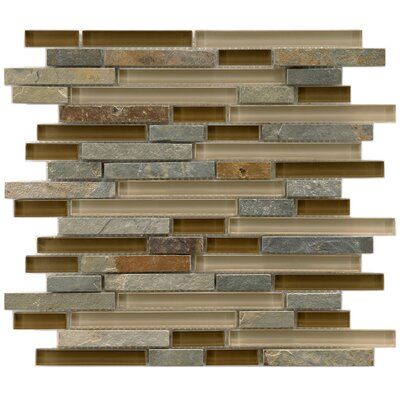Sierra Random Sized Glass and Stone Mosaic Tile in Brown/Gray
