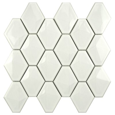Fractal 2.75 x 3.05 Porcelain Mosaic Tile in Glossy White