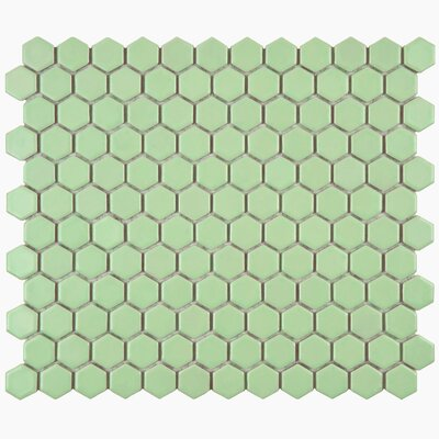 Retro Hexagon 0.875 x 0.875 Porcelain Mosaic Tile in Matte Light Green