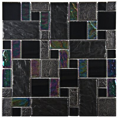 Eden Random Sized Glass and Natural Stone Mosaic Tile in Iris
