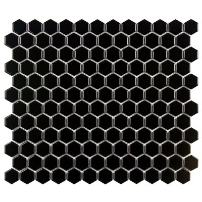 Retro 0.88 x 0.88 Porcelain Mosaic Tile in Glossy Black