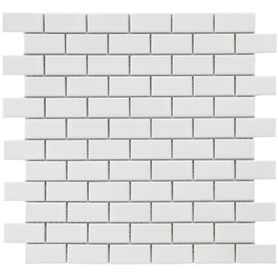 Retro 0.88 x 1.875 Porcelain Mosaic Tile in Glossy White