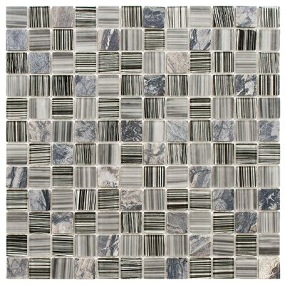 Chroma 0.875 x 0.875 Glass and Natural Stone Mosaic Tile in Licorice