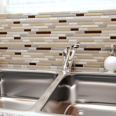 Sierra Random Sized Glass and Natural Stone Mosaic Tile in Cream/Brown