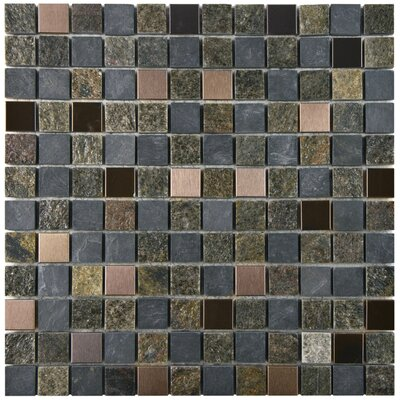 Abbey 0.875 x 0.875 Natural Stone and Metal Mosaic Tile in Alloy Rosa