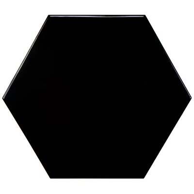 Hexitile 7 x 8 Porcelain Mosaic Tile in Glossy Black