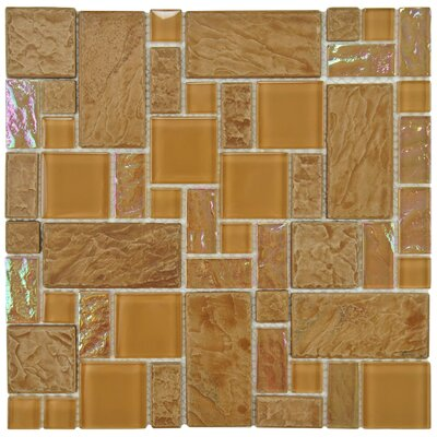 Eden Random Sized Glass and Natural Stone Mosaic Tile in Peony