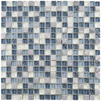 Sierra 0.625 x 0.625 Glass and Natural Stone Mosaic Tile in Gulf