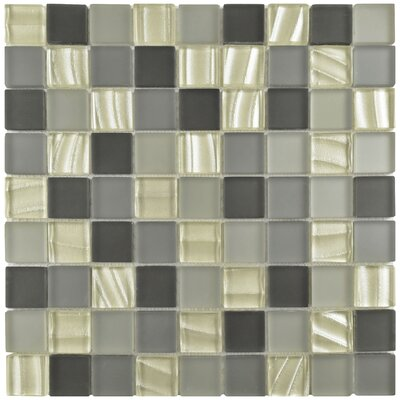 Neptunian 1.19 x 1.19 Glass Mosaic Tile in Gray