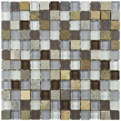 Sierra 0.88 x 0.88 Glass and Natural Stone Mosaic Tile in Brown/Blue
