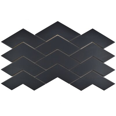 Rebotar 3.38 x 11.75 Ceramic Mosaic Tile in Semi-Gloss Black