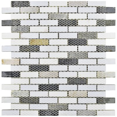 Sierra 0.58 x 1.88 Glass and Natural Stone Mosaic Tile in Brown/Cream