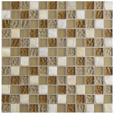 Sierra 0.88 x 0.88 Glass and Natural Stone Mosaic Tile in Amber