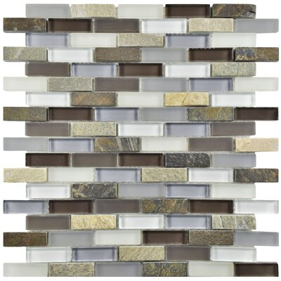 Sierra 0.5 x 1.875 Glass and Natural Stone Mosaic Tile in Tundra