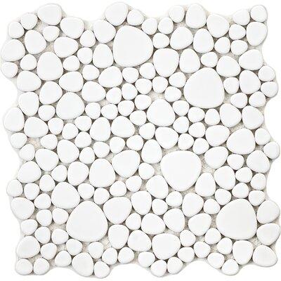 Boulder 11 x 11 Porcelain Mosaic Tile in White
