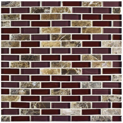 Sierra 0.58 x 1.88 Glass and Natural Stone Mosaic Tile in Bordeaux