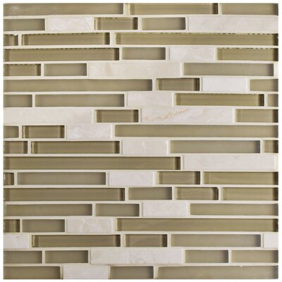 Sierra Random Sized Glass and Natural Stone Mosaic Tile in Sandstone