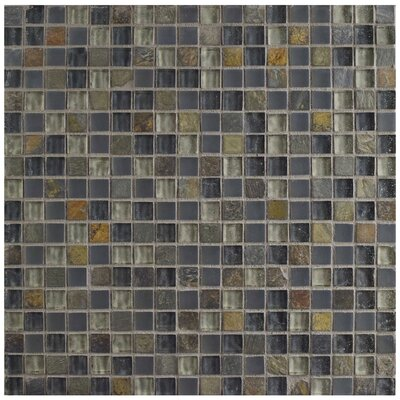 Sierra 0.58 x 0.58 Glass and Natural Stone Mosaic Tile in Brown/Blue