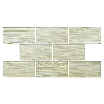 3 x 6 Glass Subway Tile in Textured Cream