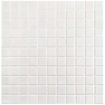 Retro 1 x 1 Porcelain Mosaic Tile in White