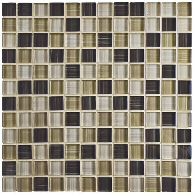 Sierra 0.88 x 0.88 Glass Mosaic Tile in Brown/Cream