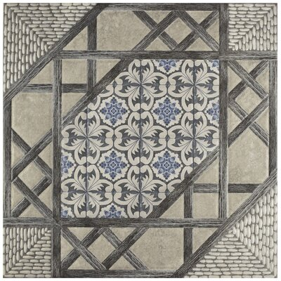 Oliba 17.63 x 17.63 Ceramic Field Tile in Gray/Blue