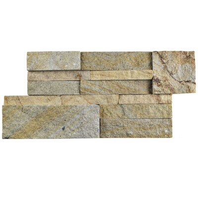 Piedro 7 x 13.5 Natural Stone Splitface Tile in Beige/Gray
