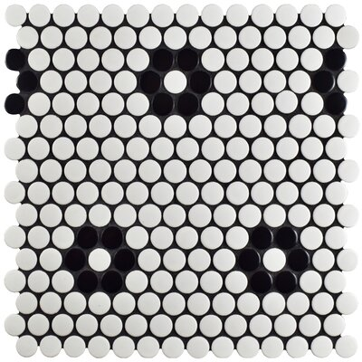 Retro Penny 0.76 x 0.76 Porcelain Mosaic Tile in Black/White