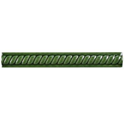 Treccia 8 X 1 Ceramic Moldura Pencil Trim Tile in Verde