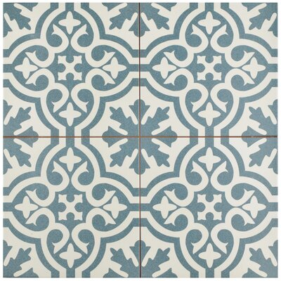 Alameda 17.63 x 17.63 Ceramic Field Tile in Spruce Blue/White