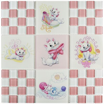 Disney Aristocats Glass Mosaic Tile in Pink