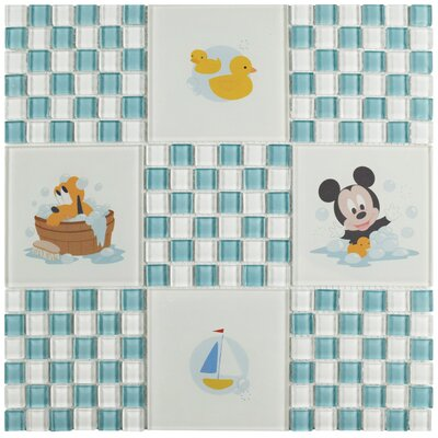 Disney Baby 11.75 x 11.75 Glass Mosaic Tile in Light Blue/White