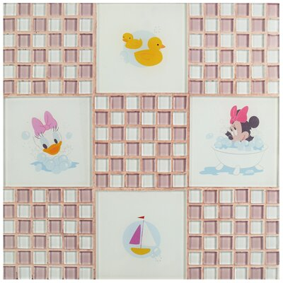 Disney Baby Glass Mosaic Tile in Pink
