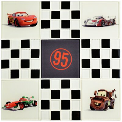 Disney Cars 11.75 x 11.75 Glass Mosaic Tile in Black/ White