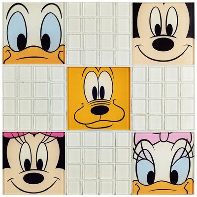 Disney Classic Glass Mosaic Tile in White