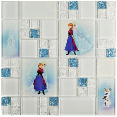 Disney Frozen Glass Mosaic Tile in Ice Blue