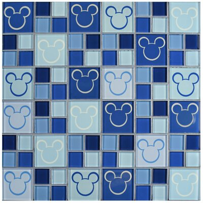 Disney Mickey Glass Mosaic Tile in Blue