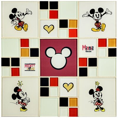 Disney Mickey and Minnie Random Sized Glass Mosaic Tile in White