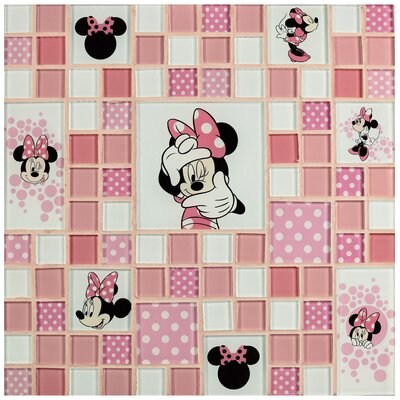 Disney Minnie Random Sized Glass Mosaic Tile in Pink