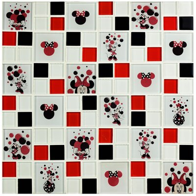 Disney Minnie Random Sized Glass Mosaic Tile in Red