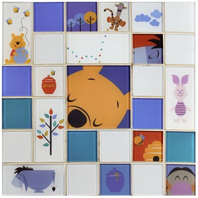 Disney Pooh and Friends Random Sized Glass Mosaic Tile in Blue