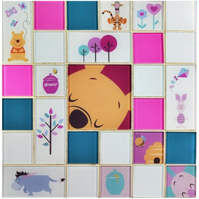 Disney Pooh and Friends Random Sized Glass Mosaic Tile in Pink