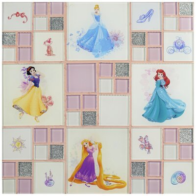Disney Princesses Random Sized Glass Mosaic Tile in Ice White