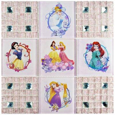 Disney Princesses Random Sized Glass Mosaic Tile in Glossy Pink