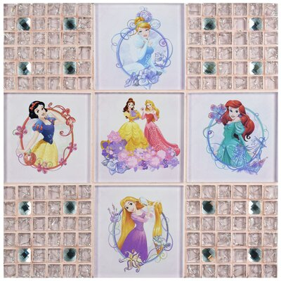 Disney Princesses Random Sized Glass Mosaic Tile in Glossy Pink