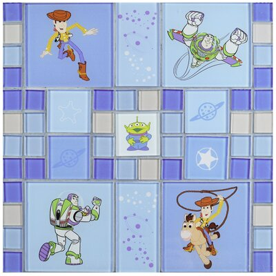 Disney Toy Story Random Sized Glass Mosaic Tile in Blue