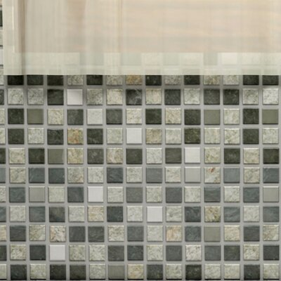 Abbey 0.88 x 0.88 Natural Stone and Metal Mosaic Tile in Alloy Verde